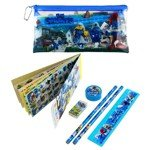 The Smurfs Style Education Study Tool Stationery Pencil Ruler Eraser Sticker Set with Carring Bag