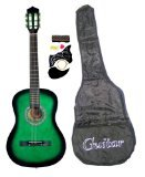 """38"""" Inch Student Beginners GREEN Acoustic Guitar with Carrying Case & Accessories & DirectlyCheap(TM) Translucent Blue Medium Guitar Pick (GR-AC38)"""