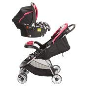 (OurBabies Minnie Mouse Lift & Stroll Plus Travel System, Minnie Coral Flowers )