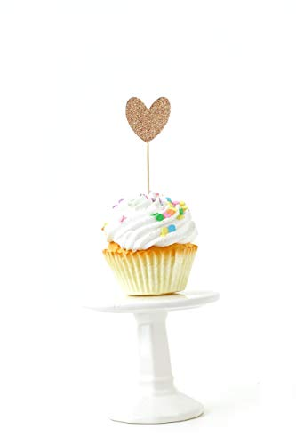 Gold Contemporary Heart - 24 pc. Heart Rose Gold Glitter Cupcake Toothpick Toppers