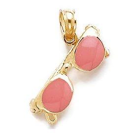 14k Yellow Gold Beach Charm Pendant, Pink Enamel - Million Sunglasses A