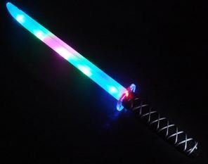 Light Up USA (TM) - Light Up LED Ninja Sword Toy with Motion Activated Clanging Sounds - Rainbow (Blue, Pink, -