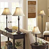 Dark brown Base/Faux-leather shade Lamp includes 1 floor lamp, 1 accent lamp and 2 table lamps - Set of 4 by Better Homes & Gardens (Image #1)