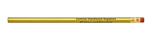 Pencil Guy Promotional Personalized Imprinted Round Pencils Gold 144 to a Box ()