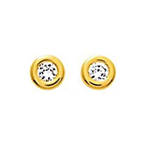 So Chic Bijoux © Boucles d'oreilles Femme Rond 4 mm Oxyde de Zirconium & Contour Epais Or Jaune 750/000 (18 carats)