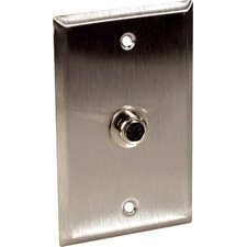 1-Gang Stainless Steel Wall Plate with 1 S-Video 4-Pin Barrel-by-TecNec ()