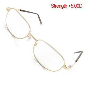 +5.00 Gold Tone Metal Full Rim Optical Reading - Glasses 5.00 Reading