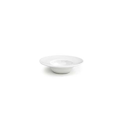 """Front of the House DCS029WHP23 Monaco Saucer/Dish, 4"""" Diameter, 1"""" Height, 1 oz, Porcelain (Pack of 12)"""