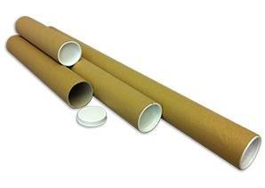 330mm x 50mm A3 Brown 100 Manilla Cardboard Postal Tubes End Caps