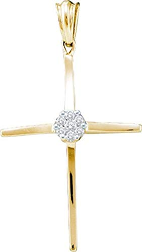 Aienid 10Kt Yellow Gold 0.11ct Diamond Cross Pendant Necklace For Ladies ()