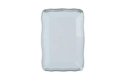 Plastic Serving Tray | White Rectangular Serving Trays With Silver Rim Border, Disposable Heavyweight Serving Party 9
