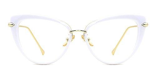 TIJN Cat Eye Frame Retro in Modern Glasses for Women 56mm (I, - Eyeglasses Frames White