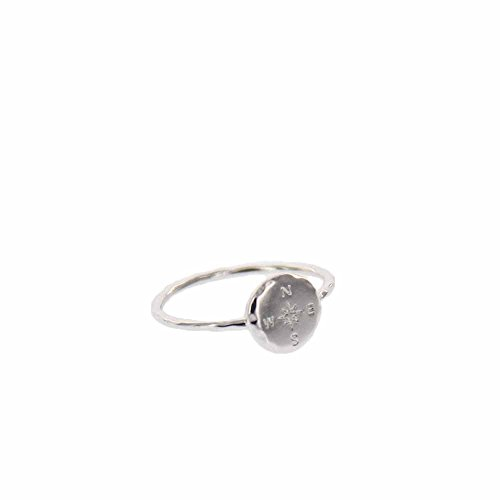 Pura Vida Silver Coated Compass Ring - Hammered Metal Brass Base .925 Sterling Silver - Size 8