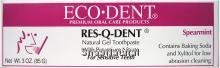Res-Q-Dent Natural Gel Toothpaste, Spearmint, With Potassium Nitrate, For Sensitive Teeth, (Contains