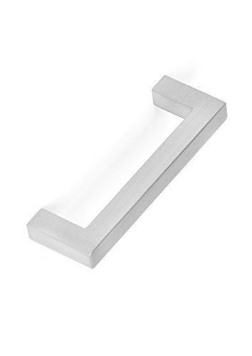(BirdRock Home Square Contemporary Handle | Brushed Nickel | 10 Pack | 3 Inch Kitchen Cupboard Furniture Cabinet Hardware Drawer Dresser Pull Trad)