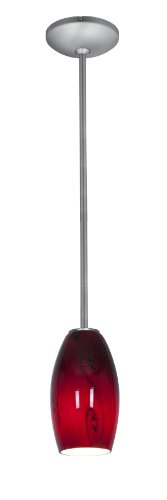 Merlot Glass Pendant - Rods - Fluorescent - Brushed Steel Finish - Red Sky Glass Shade