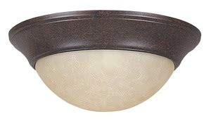Sunset Lighting F7150-62 Two Light Twist-On Flush Mount, Rubbed Bronze Finish with Tea-Stained Glass