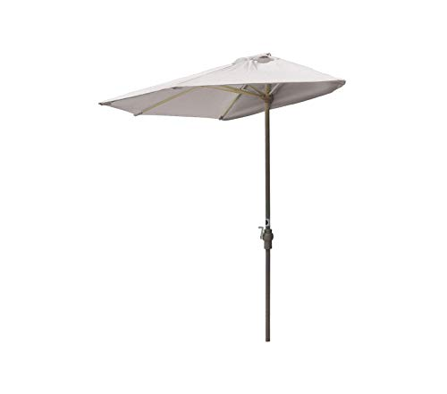 Wood & Style Patio Outdoor Garden Premium Brella Natural Olefin Half Umbrella, 9'-Width, White
