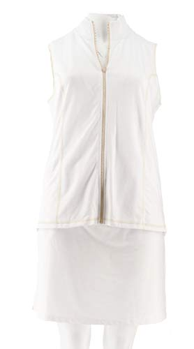 (Quacker Factory French Terry Zip Front Vest Skort Set White 2X New A273161)