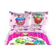 Shopkins 4 Piece Bedding Full Sheet Set | Fitted | Flat | 2 Design Pillowcases