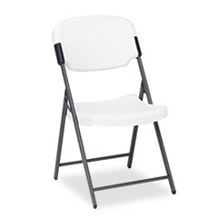 Iceberg, ICE64003 Rough N Ready Series Resin Folding Chair, Steel Frame, Platinum, Sold As 6 Pack Value Bundle