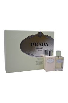 Prada Milano Infusion D'iris for Women Gift Set (Eau de Parfum Spray, Hydrating Body - Body Prada Hydrating Diris Infusion Lotion