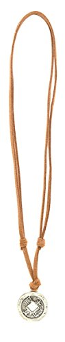 Price comparison product image Suede Adjustable Cord Necklace with Silver Pendants (Chinese Coin)