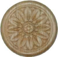 (Veneered Oak Decorative Flower Medallion Ornament Round Applique - 2