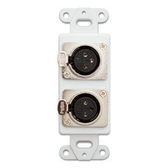QualConnectTM Decora Wall Plate Insert, White, Dual XLR Female to Solder Type (Xlr Female Wall Plate)