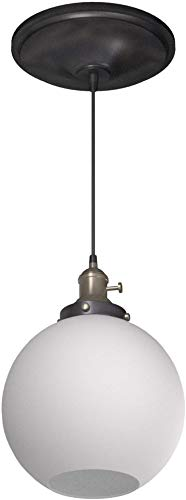 Worth Home Products Instant Screw In Pendant Light with Milky White Glass Globe Shade