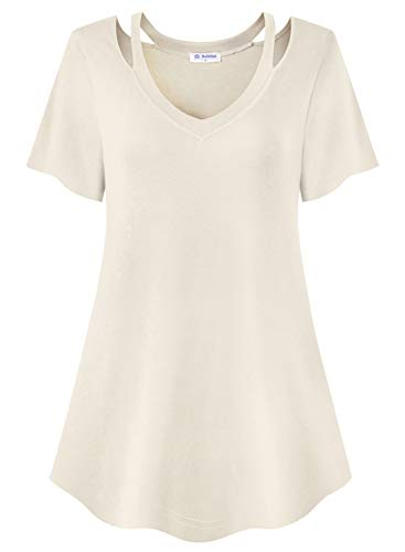 Bulotus Women Plus Size Tops Cold Shoulder Shirts Short Sleeve (Cream, XX-Large)