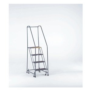 Ballymore FSH526X Steel Standard Rolling Ladder with Spring Loaded Casters and Handrails, Expanded Metal Tread, Unassembled, OSHA/ANSI Standard, 5 Steps, 24'' Step Width, 14'' Top Step Deep, Gray