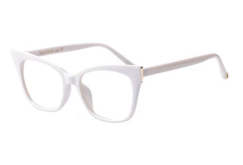 SOOLALA Vintage Stylish 53mm Lens Oversized Reading Glass Big Eyeglass Frame, White, 1.0 ()