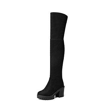 RTRY Zapatos De Mujer Cuero De Nubuck Polipiel Moda Otoño Invierno Botas Botas Chunky Talón Puntera Redonda Sobre La Rodilla Botas Cremallera Para Vestimenta Casual Negro Us7.5 / Ue38 / Uk5.5 / Cn38 Black