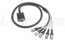 (SVGA Breakout Cable, HD15 Male/5 BNC Male, 3.0 ft)