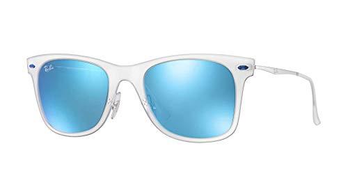 Transparent Frame Silver (Ray-Ban Wayfarer Light RB4210 - 646/55 Sunglasses Transparent; Silver w/ Blue Mirror 50mm)
