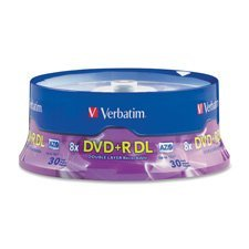 Double Layer DVD+R, 8.5GB, 8X, 30PK, Spindle/Branded, Sold as 1 Package, 30 Each per Package by Verbatim