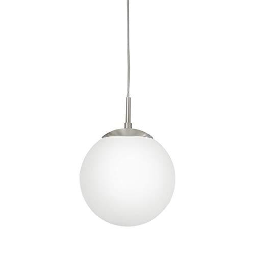 EGLO RONDO iluminación de suspensión Montaje flexible Níquel E27 60 W - Iluminación de suspensión (Montaje flexible, Níquel, Blanco, Acero, Vidrio, IP20)