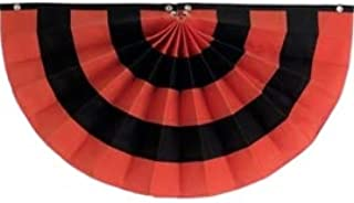 "product image for Independence Bunting Halloween Flag Bunting 24"" x 48"" Fully Sewn Orange & Black Cotton Banner Flag. Pleated Fans Made in The USA!"