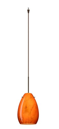 (Besa Lighting XP-1713HB-BR 1X50W Gy6.35 Pera 6 Pendant with Habanero Glass, Bronze Finish)