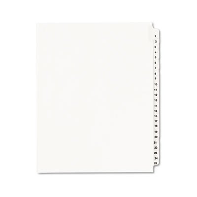 Avery-Style Legal Side Tab Divider, Title: 1-25, Letter, White, 1 Set, Total 20 ST, Sold as 1 Carton