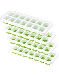 OMorc Ice Cube Trays 4 Pack, Easy-Release Silicone and Flexible 14-Ice Trays with Spill-Resistant Removable Lid, LFGB Certified and BPA Free, Stackable Durable and Dishwasher Safe (Larger - upgraded) by OMORC