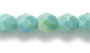 Ornaments Czech Glass - Preciosa Czech Fire 6 mm Faceted Round Polished Glass Bead, Turquoise Green Aurora Borealis, 100-Pack