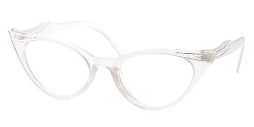 SOOLALA Womens Vintage Cateyes 80s Inspired Fashion Reading Glasses with Rhinestones, Trans, 1.25