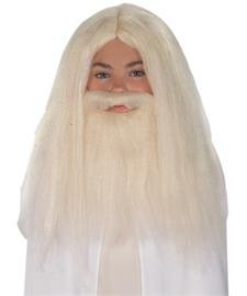 Merlin Wig And Beard Set (Lord Of The Rings Gandalf Beard And Set Wig, White, One Size)