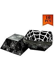 10 Pack Halloween Bowl Paper Candy Bowl Food Tray for Halloween Party Favors Candy Bags Eco-Friendly Food Disposable Boats - Spider Web Design]()