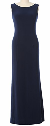 MACloth Women Classic Bateau Neckline Sheath Long Jersey Formal Evening Dress (10, Dark Navy-A) -