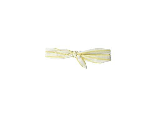 Stripe Marigold - Plush Women's Striped Linen Headband with Elastic and Bow Knot Marigold Yellow/White Stripe One Size
