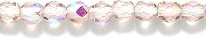 Preciosa Czech 3-mm Fire-Polished Glass Bead, Faceted Round, Light Amethyst Aurora Borealis Finish, 300/pack