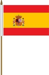 Spain Espana Small 4 X 6 Inch Mini Country Stick Flag Banner with 10 Inch Plastic Pole .. Great Quality Polyester ... New